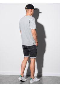 Ombre Clothing - T-shirt męski bawełniany S1379 - szary - XXL. Kolor: szary. Materiał: bawełna. Długość: krótkie. Wzór: geometria #3