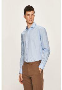 Niebieska koszula Tommy Hilfiger Tailored klasyczna, długa, gładkie, z klasycznym kołnierzykiem