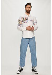 Biała koszula Desigual długa, na co dzień, z długim rękawem, z klasycznym kołnierzykiem