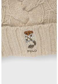Polo Ralph Lauren - Czapka wełniana. Kolor: beżowy. Materiał: wełna