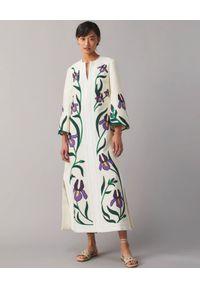 Tory Burch - TORY BURCH - Lniana sukienka z haftem Iris. Okazja: na co dzień. Kolor: biały. Materiał: len. Wzór: haft. Typ sukienki: proste, rozkloszowane. Styl: casual