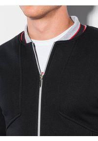 Ombre Clothing - Bluza męska rozpinana bez kaptura B1183 - czarna - XXL. Okazja: na co dzień. Typ kołnierza: bez kaptura. Kolor: czarny. Materiał: bawełna, poliester. Wzór: paski. Styl: casual