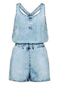 """Kombinezon dżinsowy z plisą guzikową bonprix niebieski """"washed"""". Kolor: niebieski"""