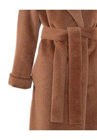 CATERINA - Brązowy płaszcz z alpaki i wełny. Kolor: brązowy. Materiał: wełna
