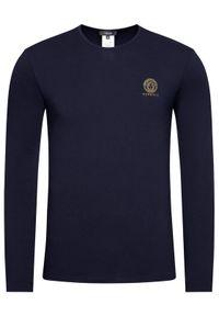 VERSACE - Versace Longsleeve Girocollo AUU01007 Granatowy Regular Fit. Kolor: niebieski. Długość rękawa: długi rękaw