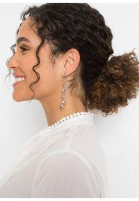 Sukienka tunikowa z ażurowym haftem bonprix biel wełny. Kolor: biały. Materiał: wełna. Wzór: haft, ażurowy