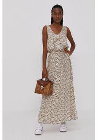 Jacqueline de Yong - Sukienka. Okazja: na co dzień. Kolor: beżowy. Materiał: tkanina, wiskoza, materiał. Typ sukienki: proste. Styl: casual