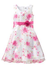 Sukienka dziewczęca na uroczyste okazje bonprix biało-różowy. Kolor: biały. Wzór: nadruk, aplikacja