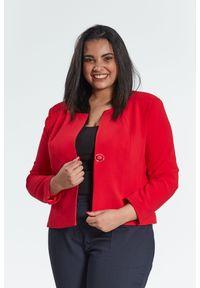 Czerwony żakiet Moda Size Plus Iwanek na wiosnę, plus size, klasyczny, na spotkanie biznesowe