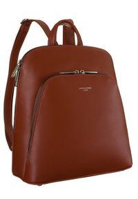 DAVID JONES - Plecak damski brązowy David Jones CM6031B CIENNA. Kolor: brązowy. Materiał: skóra ekologiczna