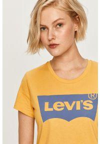 Żółta bluzka Levi's® casualowa, w kolorowe wzory, na spotkanie biznesowe, z okrągłym kołnierzem