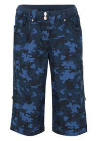 Szorty bojówki w deseń moro bonprix ciemnoniebieski z nadrukiem. Kolor: niebieski. Wzór: nadruk, moro