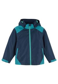 Niebieska kurtka bonprix z nadrukiem, ze stójką