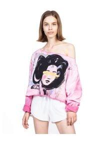 ROBERT KUPISZ - Różowa bluza ORIENT GEISHA FLASHDANCE. Kolor: fioletowy, różowy, wielokolorowy. Materiał: bawełna, materiał. Wzór: nadruk