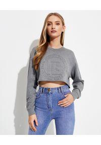 Balmain - BALMAIN - Krótka szara bluza. Kolor: szary. Materiał: kaszmir, bawełna. Długość rękawa: długi rękaw. Długość: krótkie