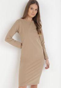 Born2be - Jasnobeżowa Sukienka Sanya. Okazja: na co dzień. Kolor: beżowy. Materiał: bawełna, dzianina, jeans. Długość rękawa: długi rękaw. Typ sukienki: proste, oversize. Styl: casual. Długość: mini
