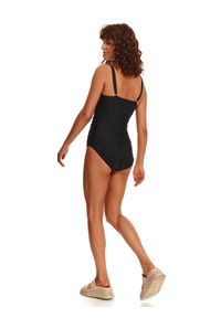 TOP SECRET - Jednoczęściowy kostium kąpielowy damski. Kolor: czarny. Materiał: tkanina, materiał