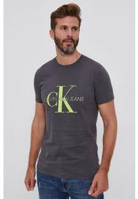 Calvin Klein Jeans - T-shirt. Okazja: na co dzień. Kolor: szary. Wzór: nadruk. Styl: casual