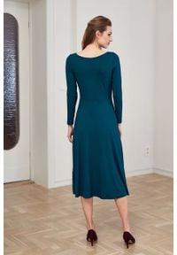 Marie Zélie - Sukienka Margarita butelkowa zieleń. Materiał: tkanina, dzianina, elastan, wiskoza, materiał. Długość rękawa: długi rękaw. Typ sukienki: trapezowe