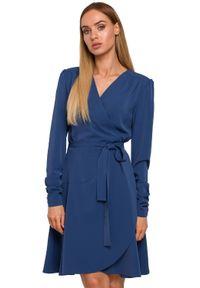 Sukienka MOE kopertowa, elegancka, z długim rękawem