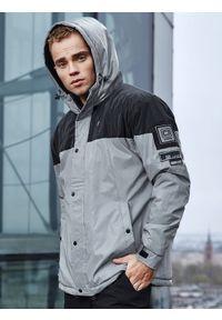 Ombre Clothing - Kurtka męska zimowa odblaskowa C462 - szara - XXL. Kolor: szary. Materiał: poliester. Sezon: zima