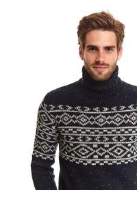 Niebieski sweter TOP SECRET z długim rękawem, długi, z golfem