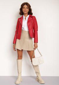 Renee - Czerwona Ramoneska Daeipheme. Kolor: czerwony. Materiał: tkanina. Długość: długie. Wzór: kwiaty, aplikacja