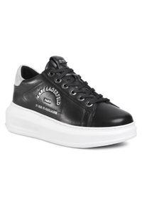 Czarne buty sportowe Karl Lagerfeld z cholewką, na koturnie, na co dzień