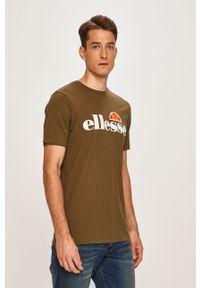 Zielony t-shirt Ellesse casualowy, z okrągłym kołnierzem