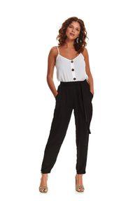 Czarne spodnie TOP SECRET casualowe, długie, na co dzień, w kolorowe wzory