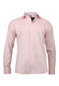 Chiao - Stylowa Koszula Męska - 100% BAWEŁNA - Slim Fit, Kryta Plisa, Różowa. Okazja: do pracy, na spotkanie biznesowe. Kolor: różowy. Materiał: bawełna. Długość rękawa: długi rękaw. Długość: długie. Wzór: aplikacja. Styl: elegancki