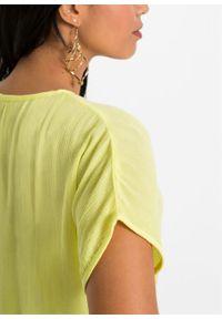 Bluzka z kreszowanego materiału bonprix jasna limonka. Kolor: żółty. Materiał: materiał