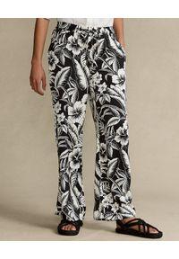 Ralph Lauren - RALPH LAUREN - Czarne spodnie z kwiatowym nadrukiem. Kolor: czarny. Wzór: nadruk, kwiaty