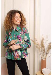 Nommo - Koszulowa Bluzka z Falbanką - Kwiaty. Materiał: poliester, wiskoza. Wzór: kwiaty