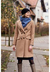 Marie Zélie - Płaszcz wełniany Debora beżowy – flausz. Kolor: beżowy. Materiał: wełna. Wzór: motyw zwierzęcy, ze splotem. Sezon: zima. Styl: klasyczny #3