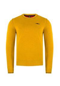 Żółty sweter Aeronautica Militare w jednolite wzory
