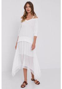 TwinSet - Twinset - Sukienka. Okazja: na co dzień. Kolor: biały. Długość rękawa: na ramiączkach. Typ sukienki: proste. Styl: casual
