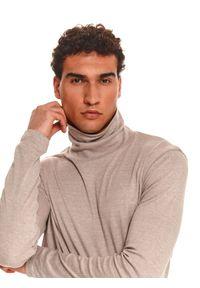 TOP SECRET - T-shirt długi rękaw męski gładki. Kolor: beżowy. Długość rękawa: długi rękaw. Długość: długie. Wzór: gładki