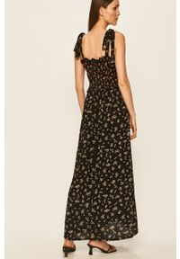 Czarna sukienka Brave Soul casualowa, prosta, w kwiaty, maxi