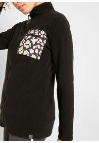 Czarna bluza bonprix ze stójką, z długim rękawem, długa