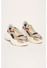 Złote sneakersy GOE na sznurówki, z okrągłym noskiem, z cholewką