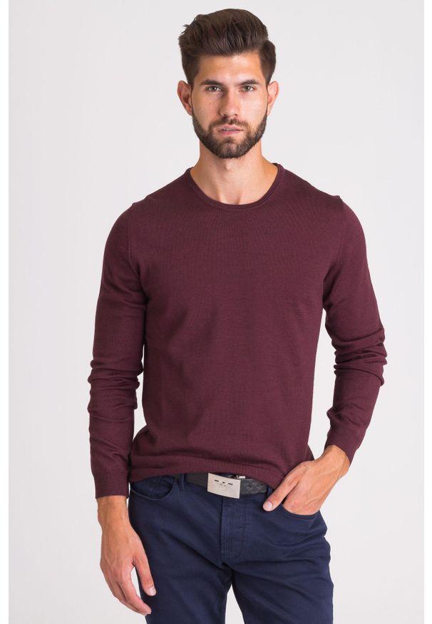 Czerwony sweter Joop! Collection z okrągłym kołnierzem, młodzieżowy, z aplikacjami