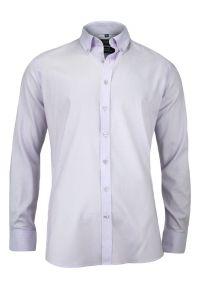 Biała elegancka koszula Chiao do pracy, z aplikacjami, z długim rękawem