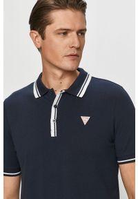 Niebieska koszulka polo Guess z aplikacjami, krótka, polo