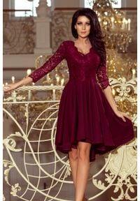 Numoco - Wieczorowa Asymetryczna Sukienka z Koronką - Bordowa. Kolor: czerwony. Materiał: koronka. Wzór: koronka. Typ sukienki: asymetryczne. Styl: wizytowy