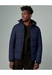 CANADA GOOSE - Granatowa kurtka puchowa HyBridge. Kolor: niebieski. Materiał: puch. Długość: długie. Sezon: zima