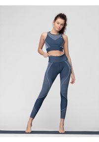 4f - Legginsy funkcyjne do jogi. Stan: podwyższony. Kolor: niebieski. Materiał: materiał. Sport: joga i pilates