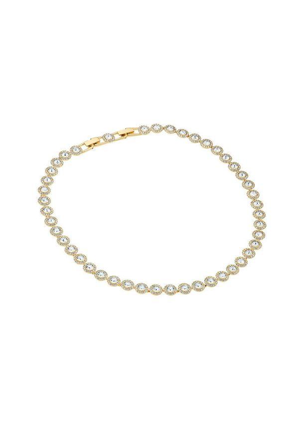 Złoty naszyjnik Swarovski z aplikacjami, z kryształem, metalowy