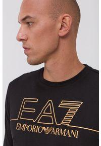 EA7 Emporio Armani - Longsleeve bawełniany. Okazja: na co dzień. Kolor: czarny. Materiał: bawełna. Długość rękawa: długi rękaw. Wzór: gładki, nadruk. Styl: casual