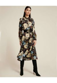 Luisa Spagnoli - LUISA SPAGNOLI - Sukienka koszulowa z kwiatowym motywem GIRETTO. Kolor: czarny. Wzór: kwiaty. Typ sukienki: koszulowe. Długość: midi
